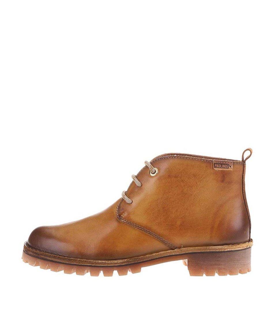 Světle hnědé kožené kotníkové boty Pikolinos
