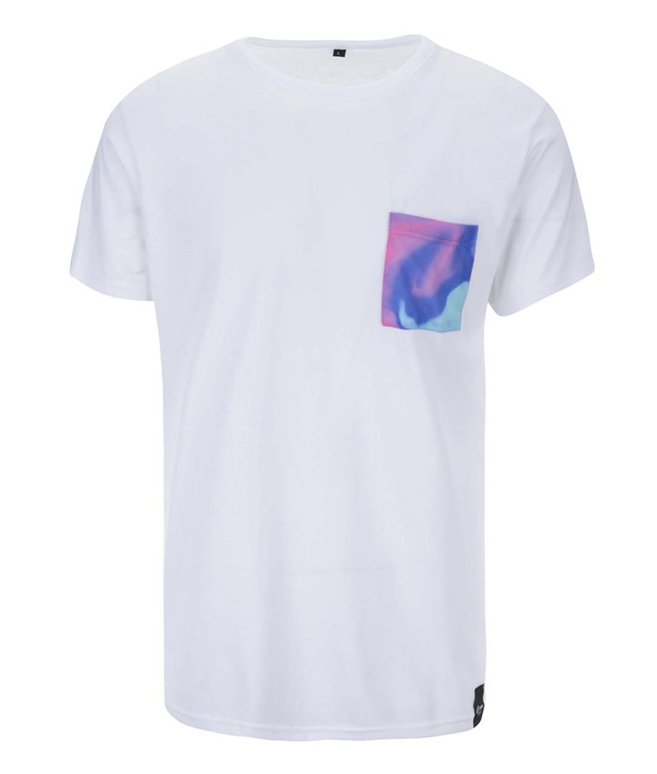 Bílé unisex triko s modrou kapsou Grape