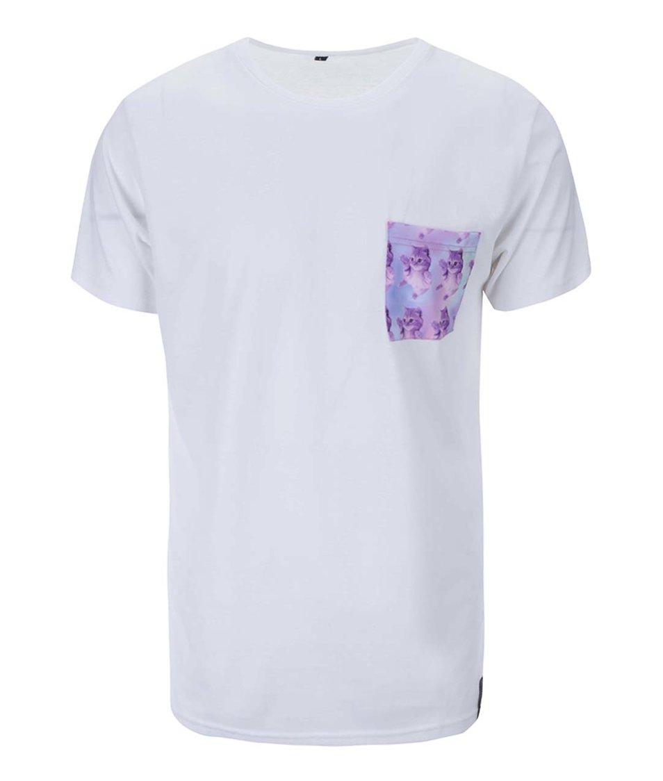 Bílé unisex triko s kočkami na kapse Grape Pocket Cats