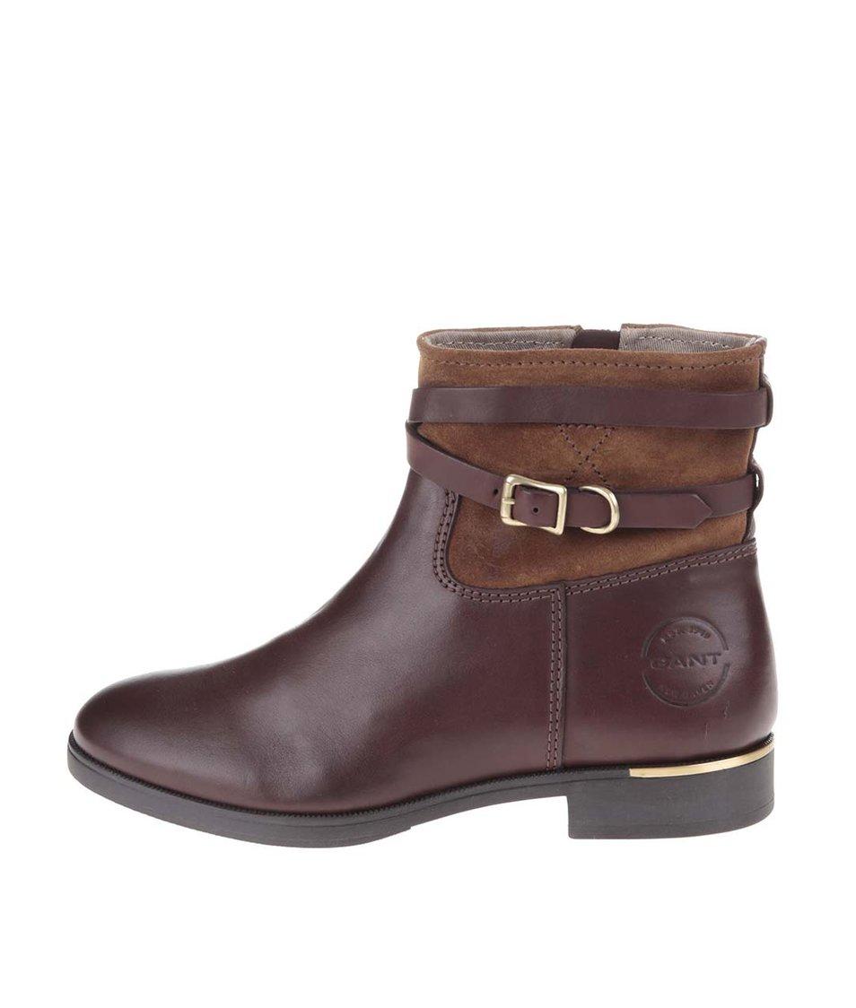 Tmavě hnědé dámské kožené kotníkové boty GANT Laura