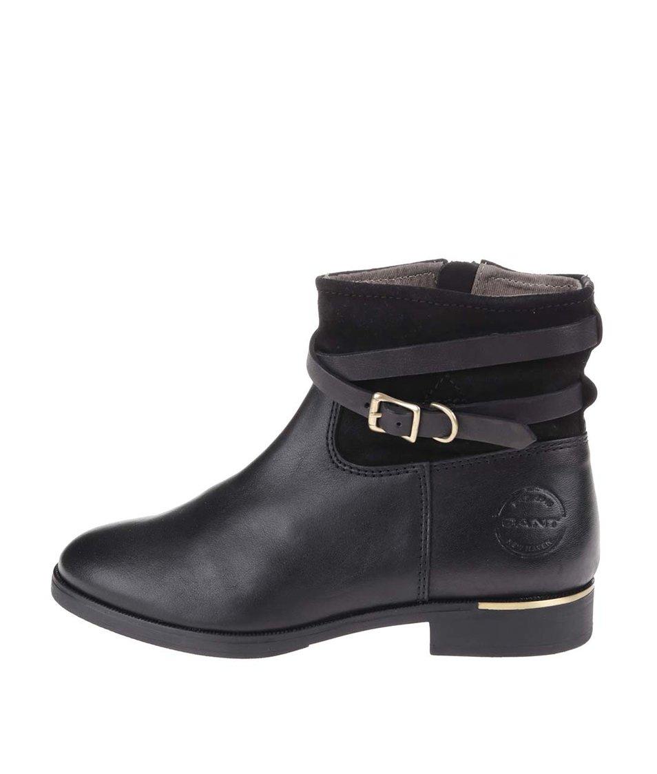 Černé dámské kožené kotníkové boty GANT Laura