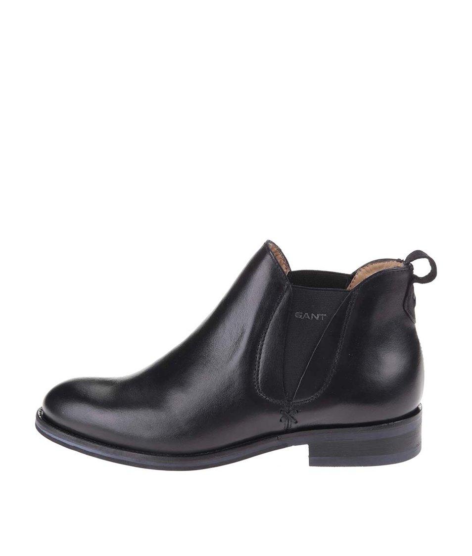 Černé dámské kožené kotníkové boty GANT Avery