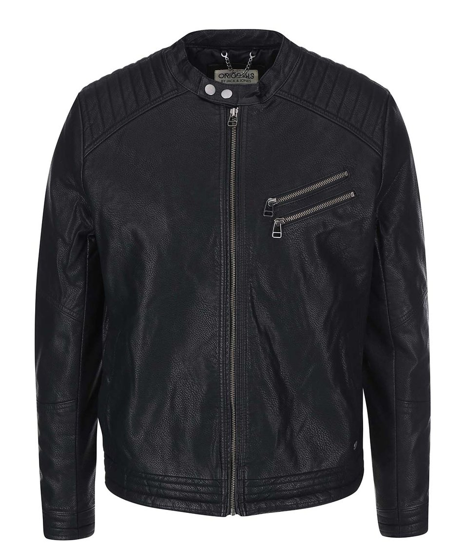 Černá koženková bunda Jack & Jones Blaze