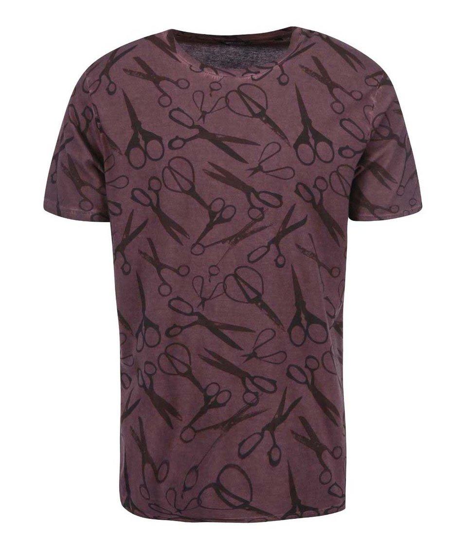 Vínové triko s nůžkami ONLY & SONS Scissor