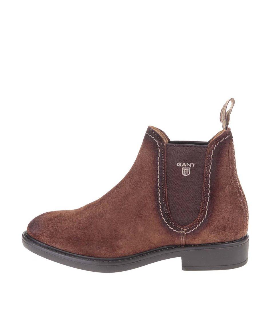 Hnědé dámské kožené kotníkové boty GANT Lydia