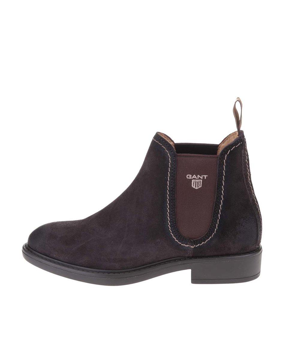 Tmavě hnědé dámské kožené kotníkové boty GANT Lydia