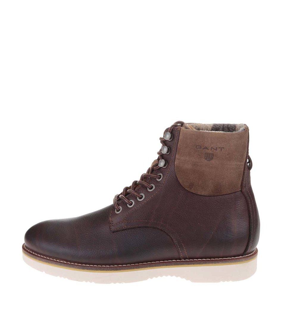 Hnědé pánské kožené vyšší kontíkové boty GANT Huck