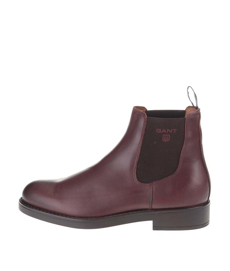Tmavě hnědé pánské kožené chelsea boty GANT Oscar