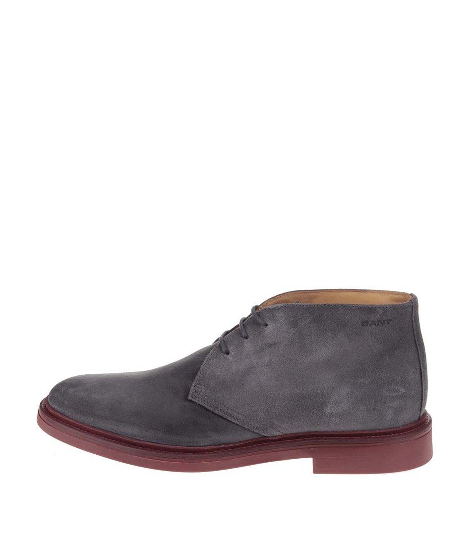 Šedé pánské kožené kotníkové boty GANT Willow