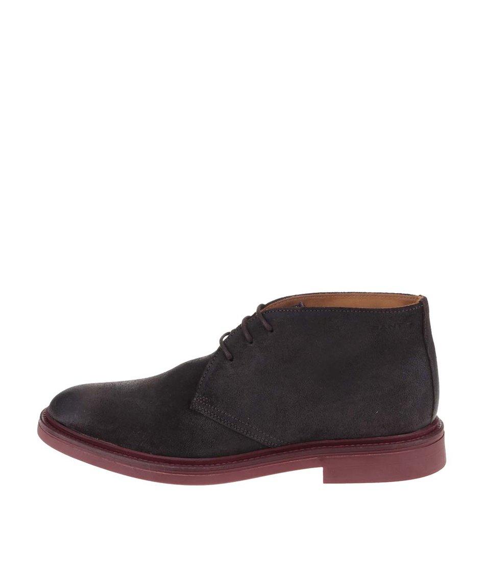 Tmavě hnědé pánské kožené kotníkové boty GANT Willow