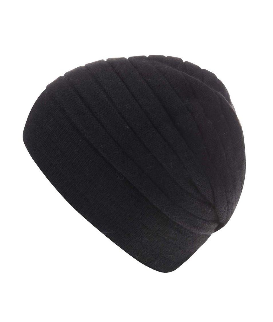 Černá vzorovaná čepice s kašmírem INVUU London