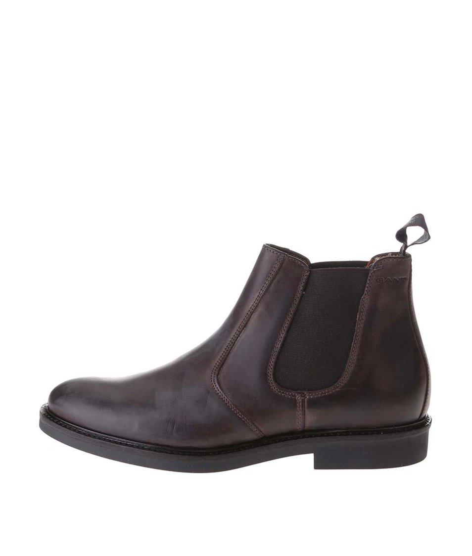 Tmavě hnědé pánské kožené chelsea boty GANT Spencer