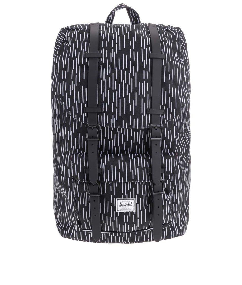 Černý batoh s bílým vzorem Herschel Little America