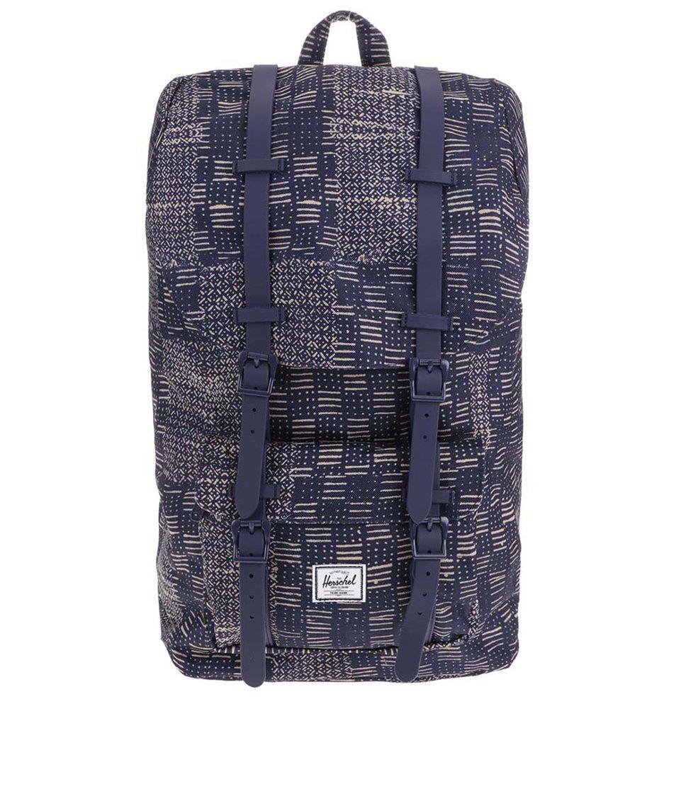 Tmavě modrý batoh s béžovým vzorem Herschel Little America
