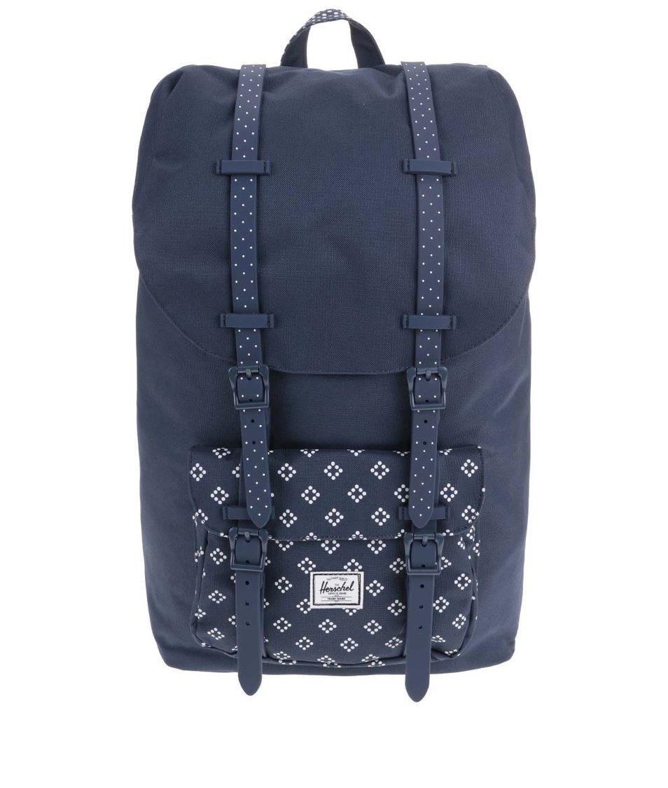 Tmavě modrý batoh s bílým vzorem Herschel Little America