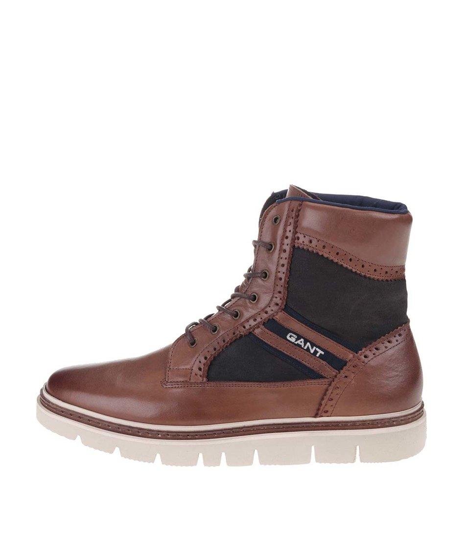 Hnědé pánské kožené kotníkové boty GANT Scott