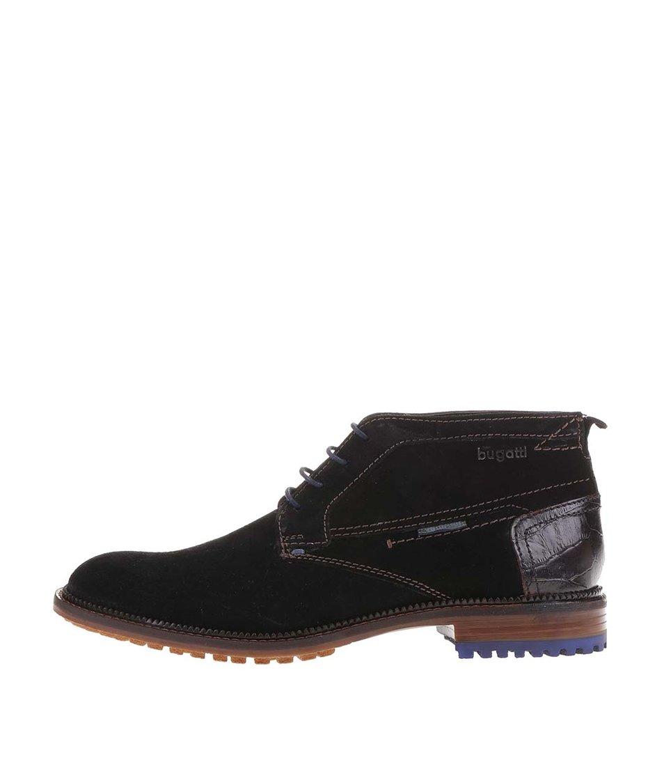 Černé pánské kožené kotníkové boty s modrými detaily bugatti