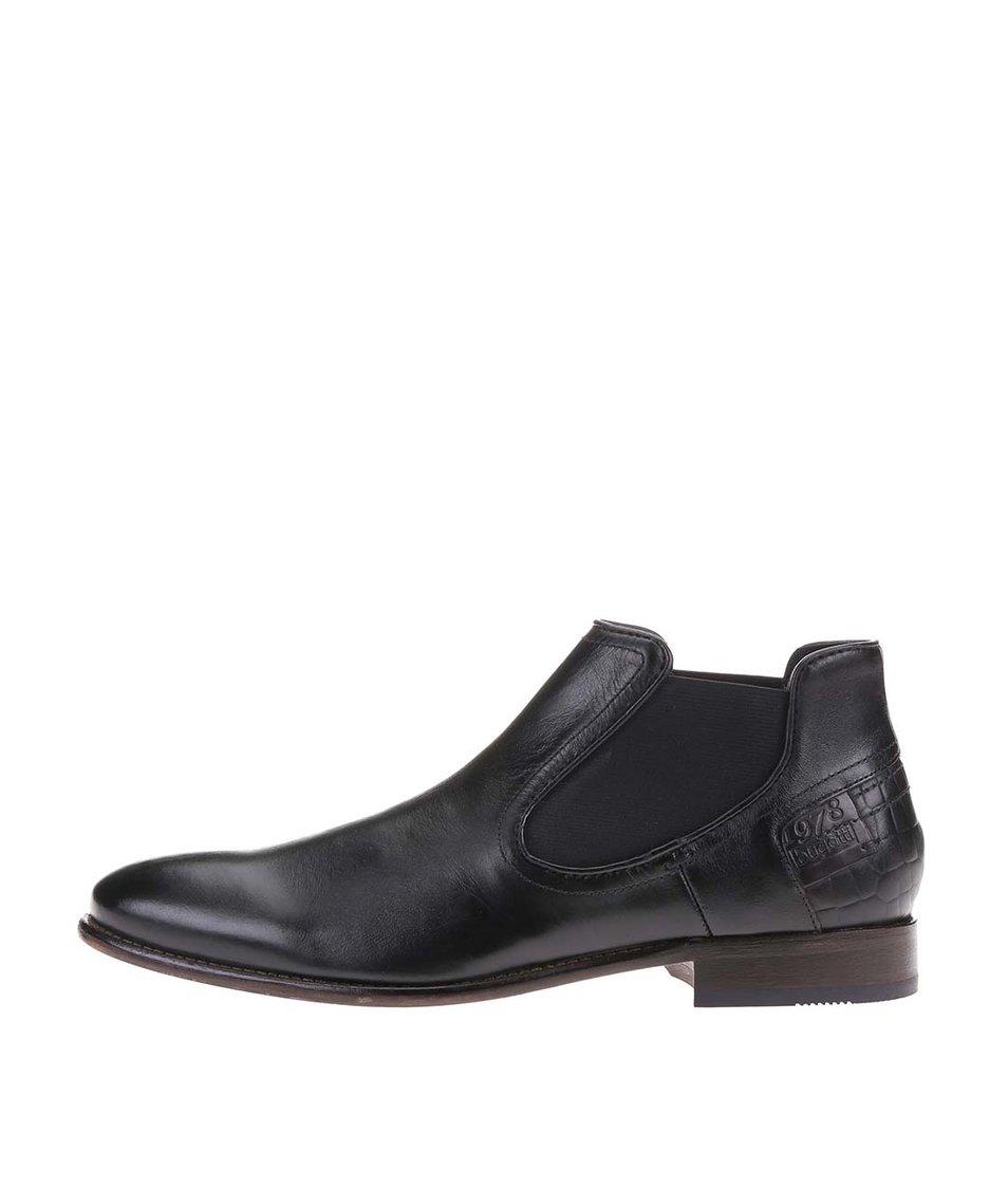 Černé pánské kožené chelsea boty bugatti