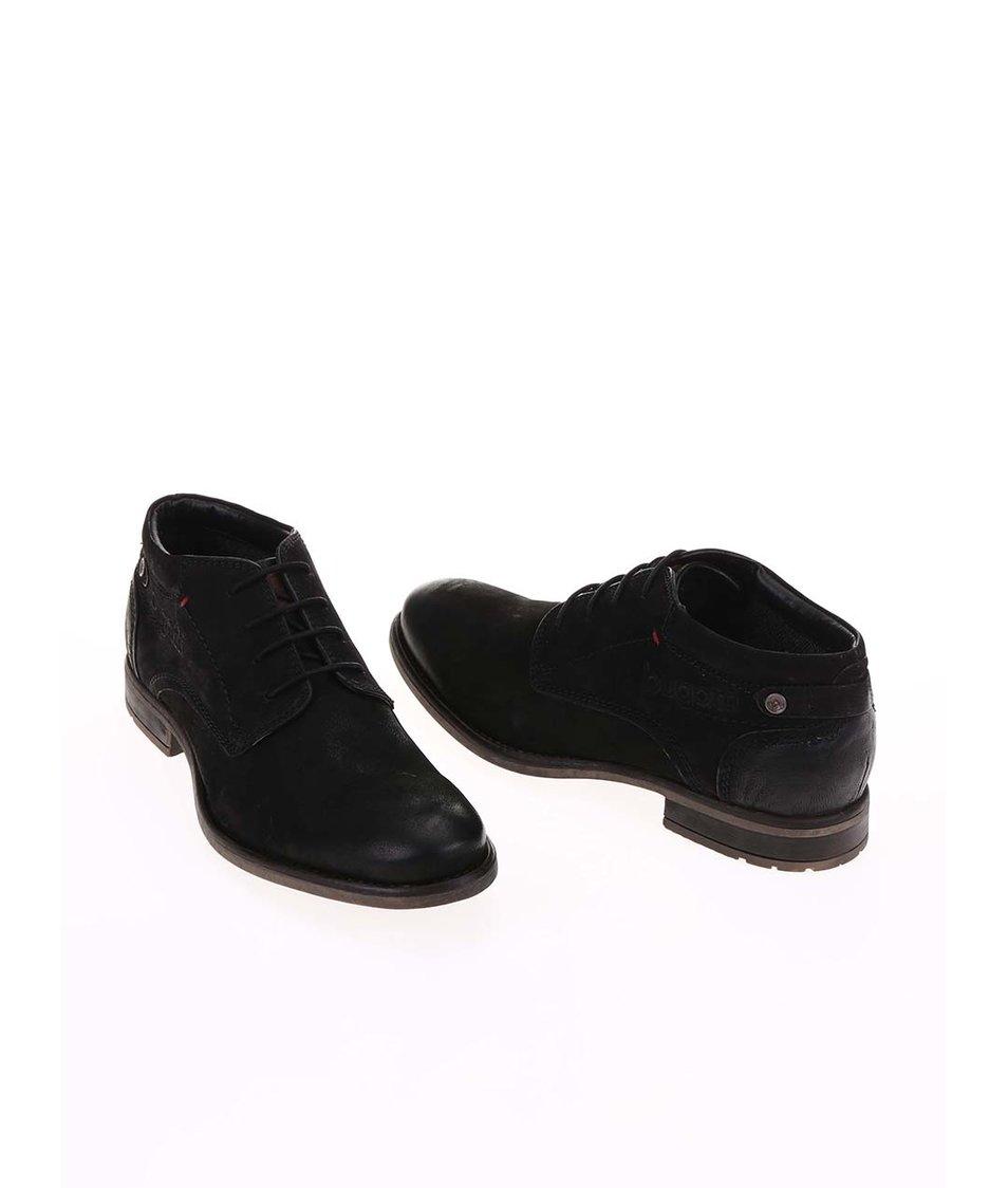 Černé pánské kožené kotníkové boty bugatti