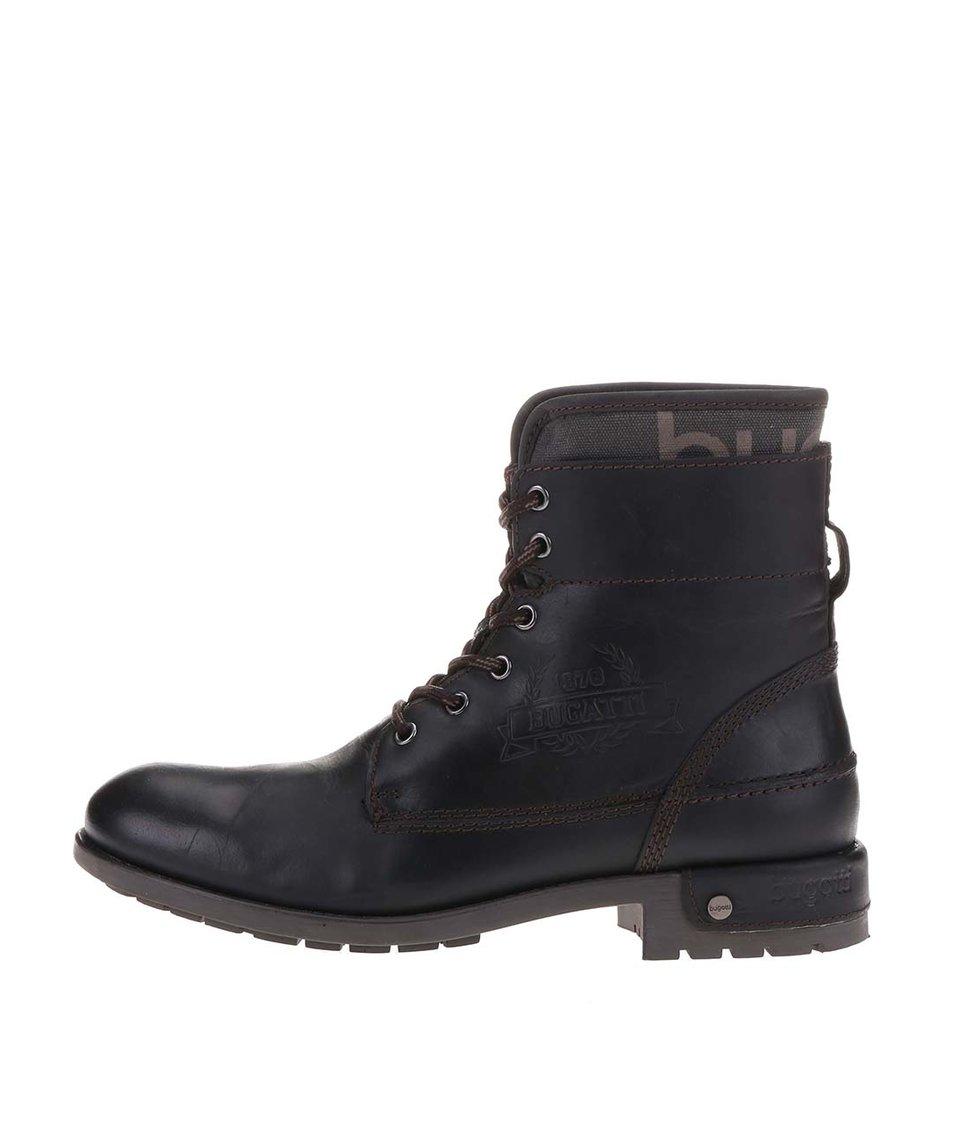 Černé pánské vysoké kožené boty bugatti