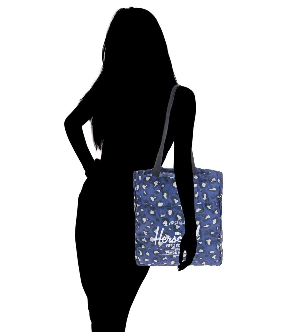Modrá taška s leopardím vzorem Herschel Packable Travel Tote