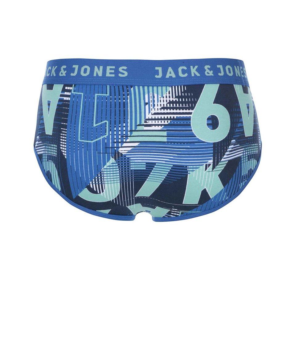 Zeleno-modré vzorované slipy Jack & Jones Logo