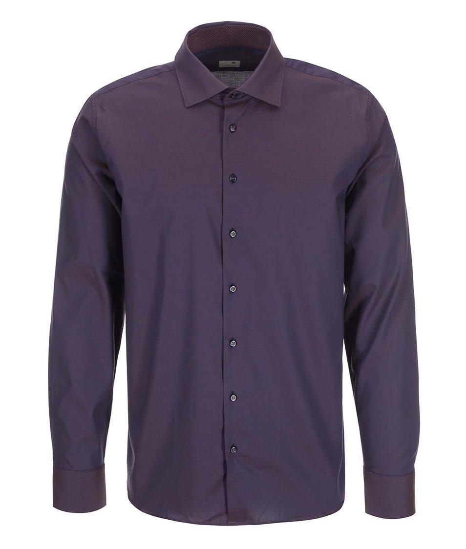 Hnědofialová košile Seidensticker Paul Panel Patch