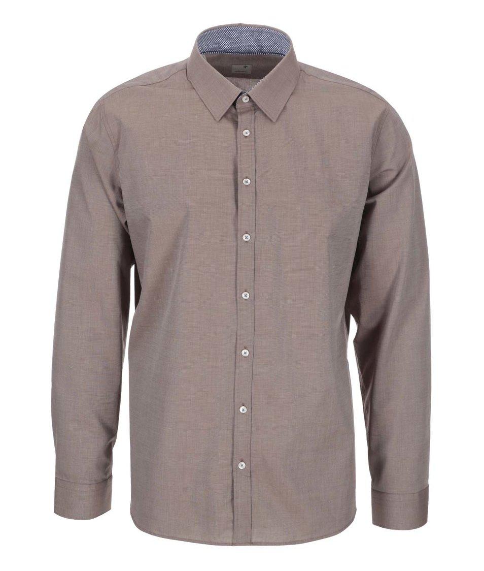 Hnědá košile s jemným vzorem Seidensticker Modern Kent Patch