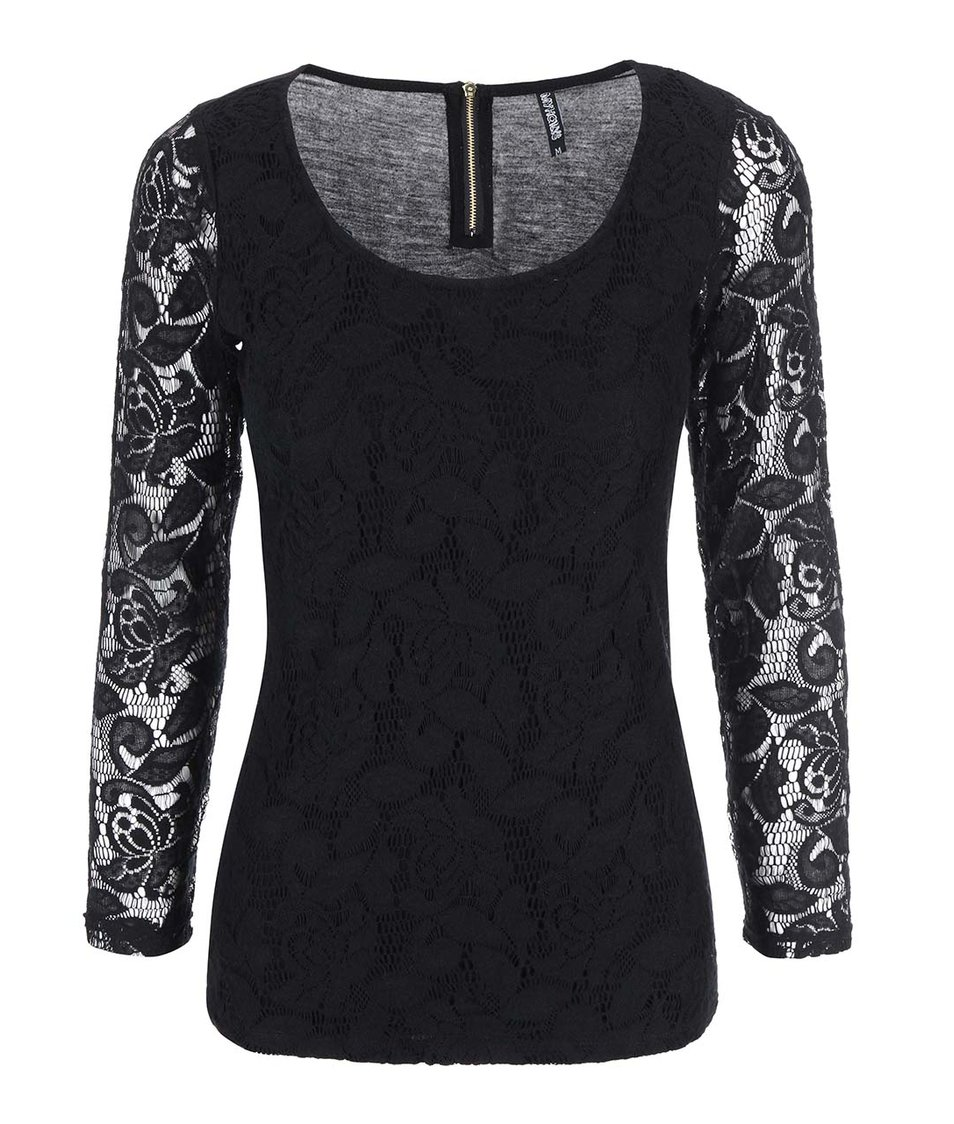 Černé krajkované tričko s dlouhým rukávem Haily´s Hazel