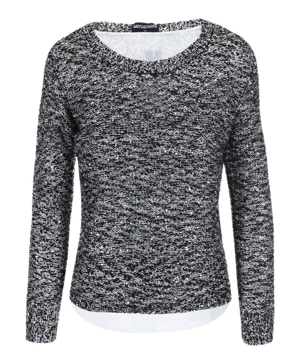 Černý žíhaný svetr s flitry Haily´s Marla