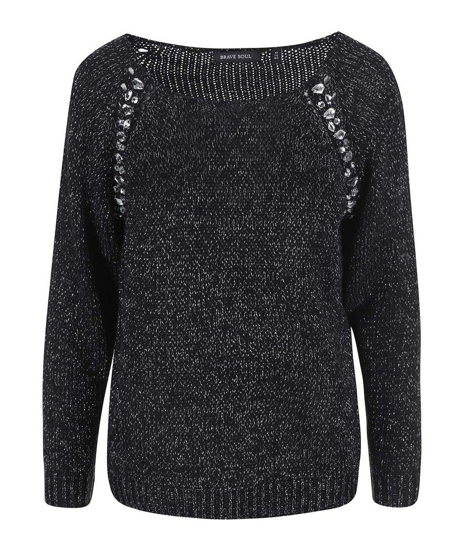 Černý dámský svetr se stříbrnými detaily Brave Soul Gem