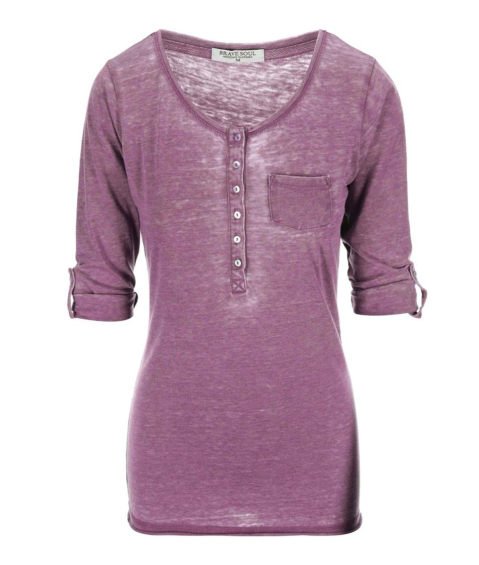 Vínové dámské tričko s 3/4 rukávy Brave Soul Button