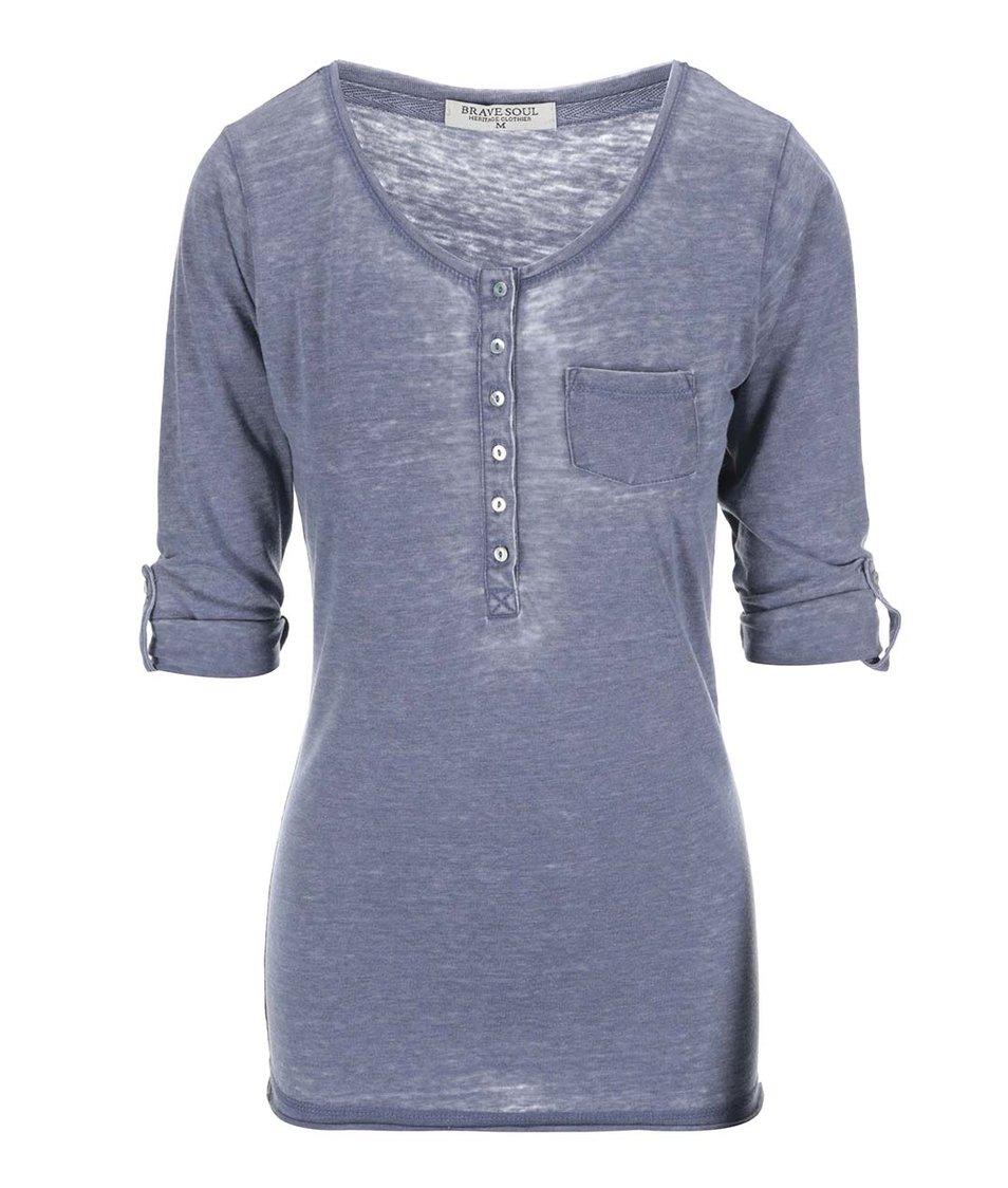 Modré dámské tričko s 3/4 rukávy Brave Soul Button