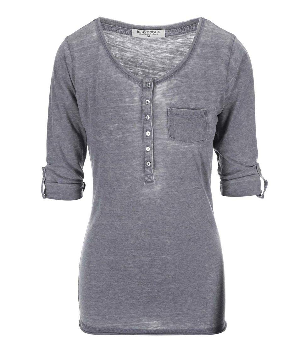 Šedé dámské tričko s 3/4 rukávy Brave Soul Button