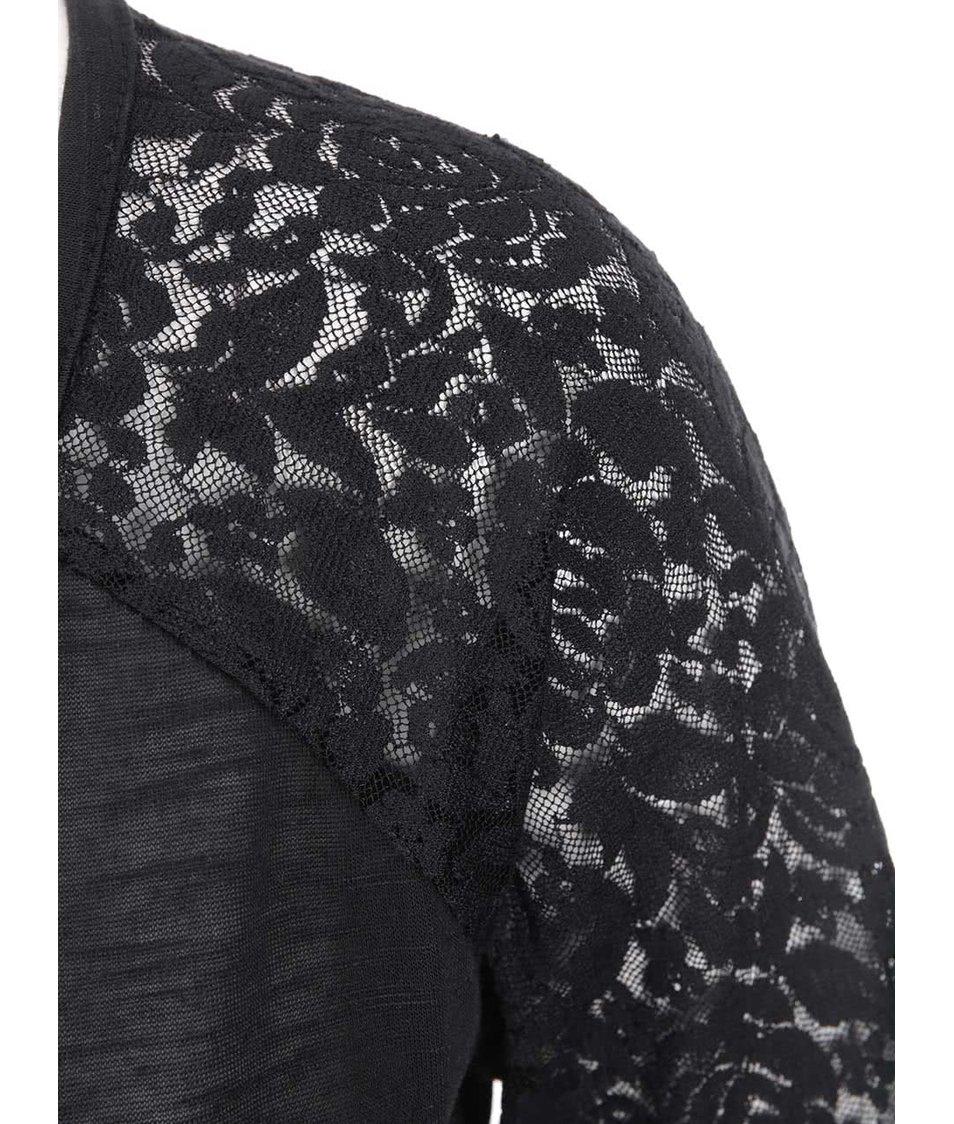 Černý dámský top s krajkovými rukávy Brave Soul Jemma