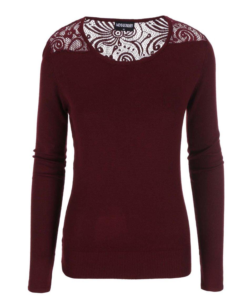 Vínové tričko s krajkovými rameny Haily´s Cora