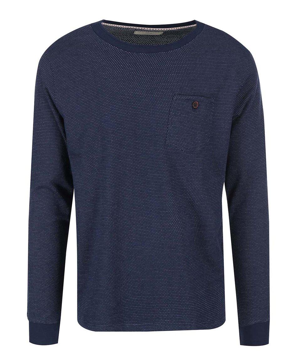 Tmavě modré pánské triko s náprsní kapsou Selected Dot