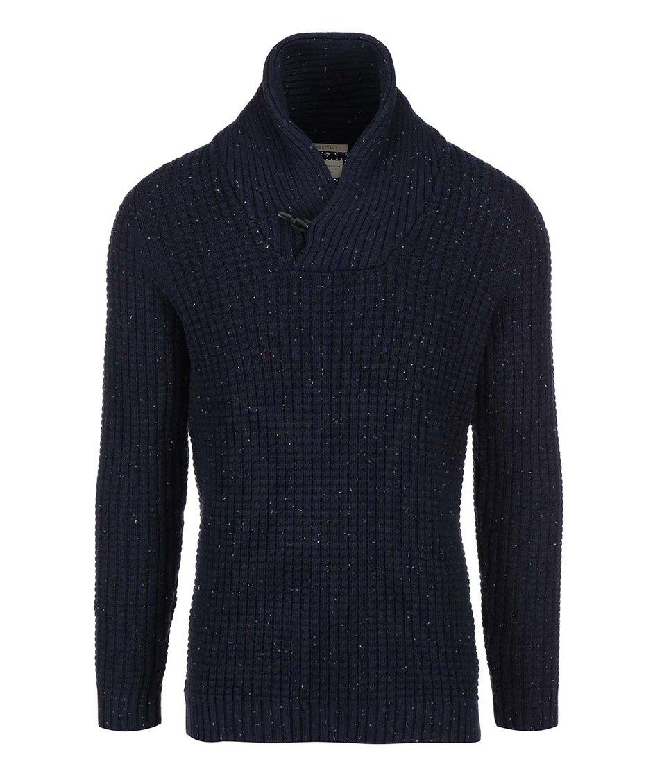 Tmavě modrý svetr s límcem na knoflík Selected Julias