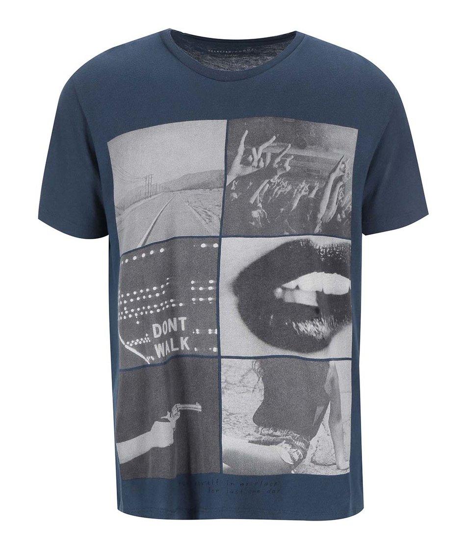 Tmavě modré pánské triko s potiskem Selected Story