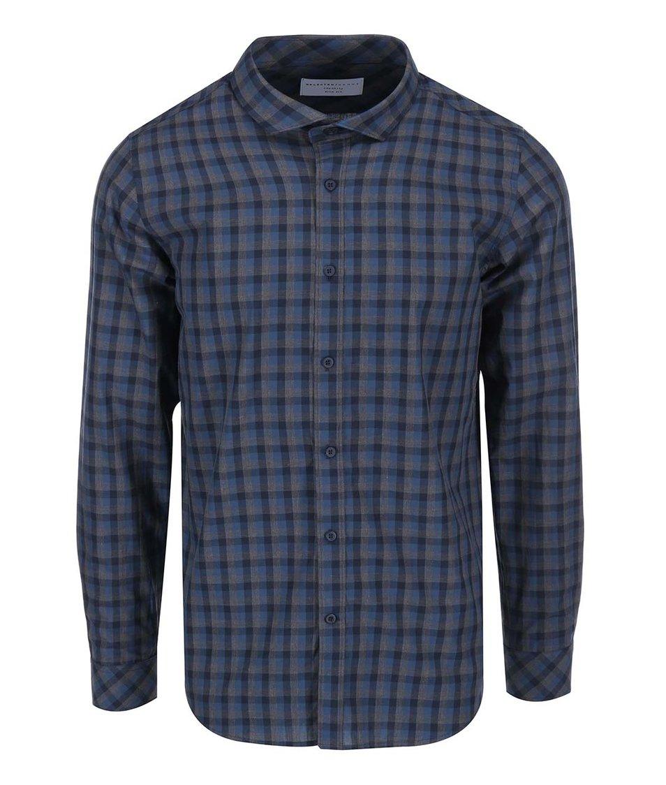 Šedo-modrá pánská kostkovaná košile Selected James