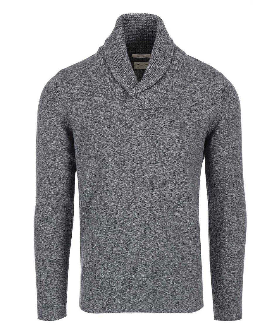 Šedý pánský svetr s límcem Selected Pete