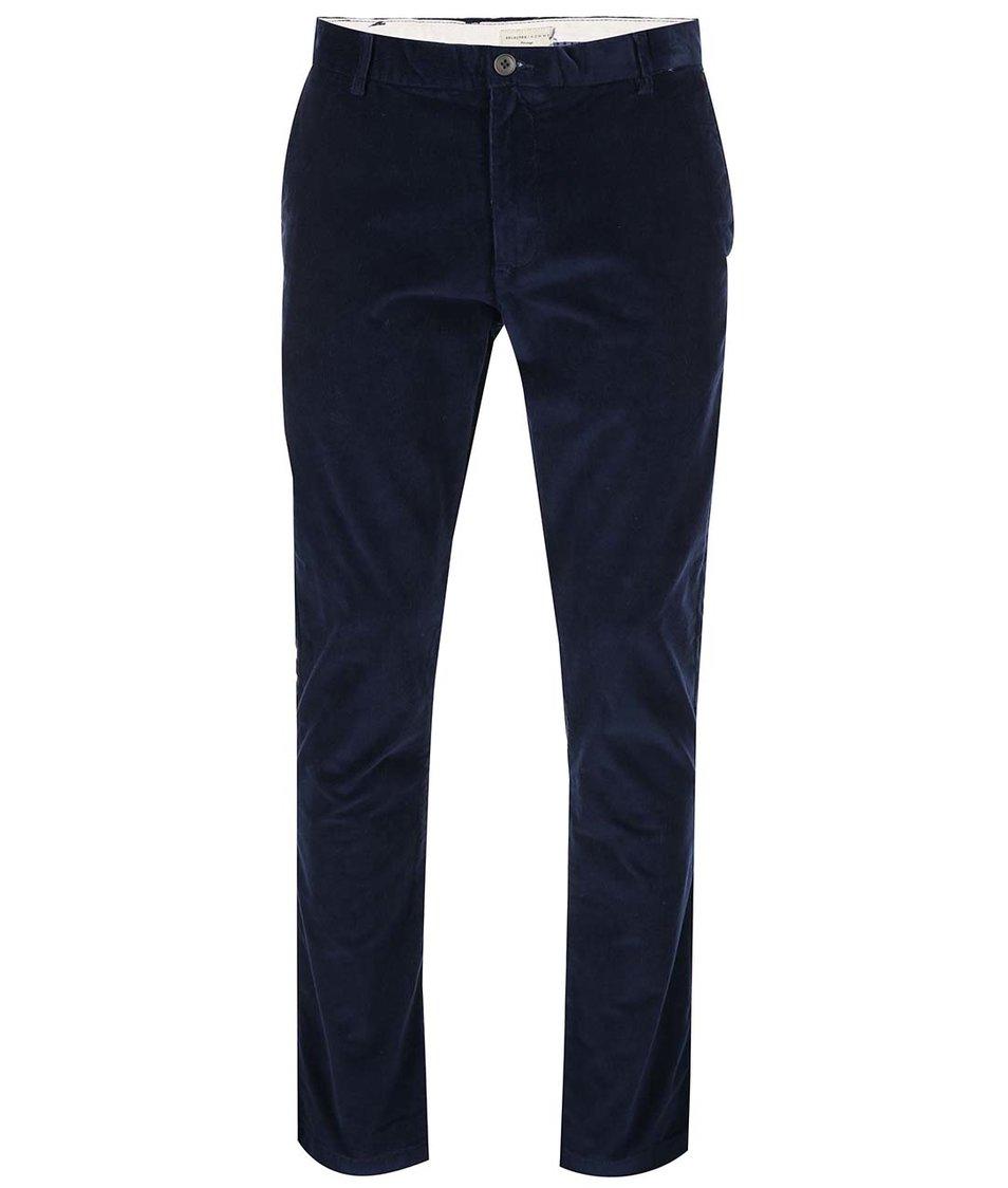 Tmavě modré bavlněné kalhoty Selected Pelle