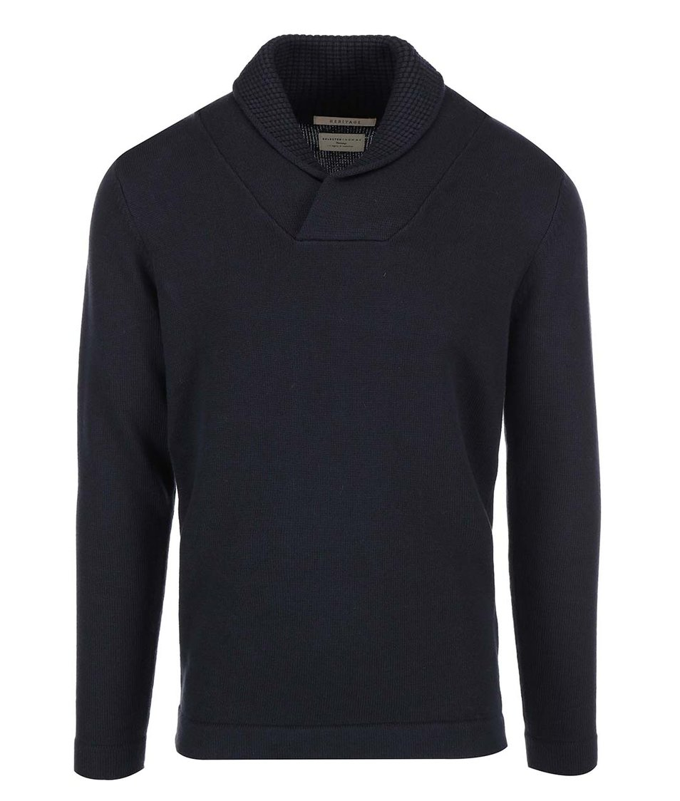 Tmavě modrý svetr s límcem Selected Pete