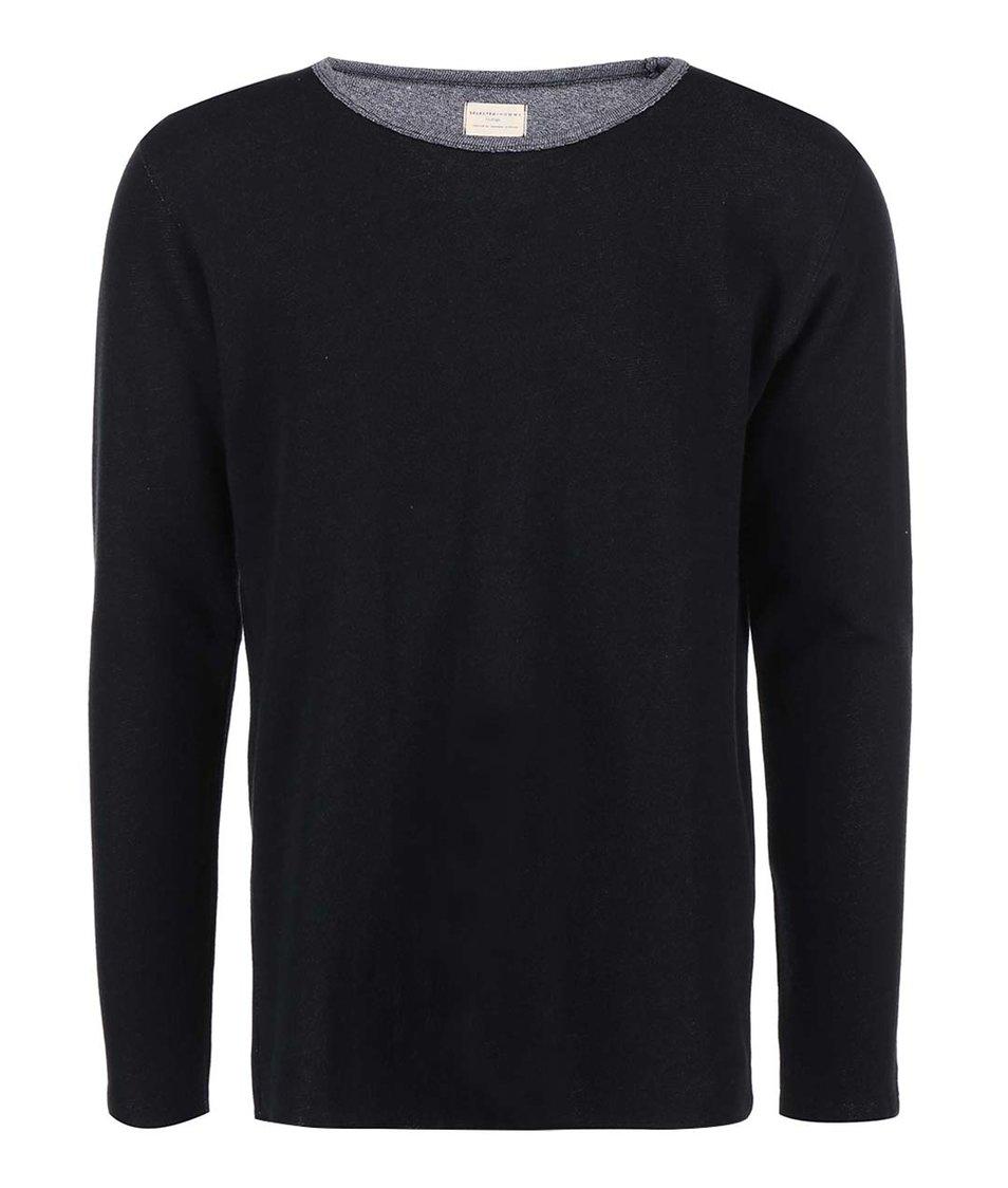 Černý lehčí svetr s efektem naruby Selected Reverse