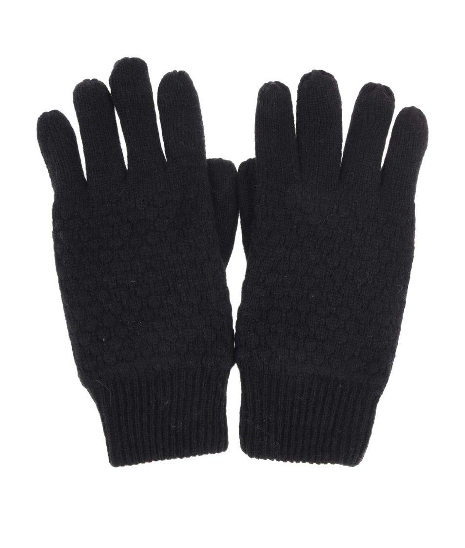 Černé vlněné rukavice Selected Hank
