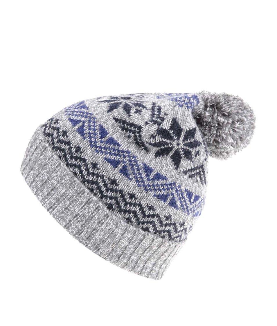 Modro-šedá čepice s norskými vzory Selected Elias