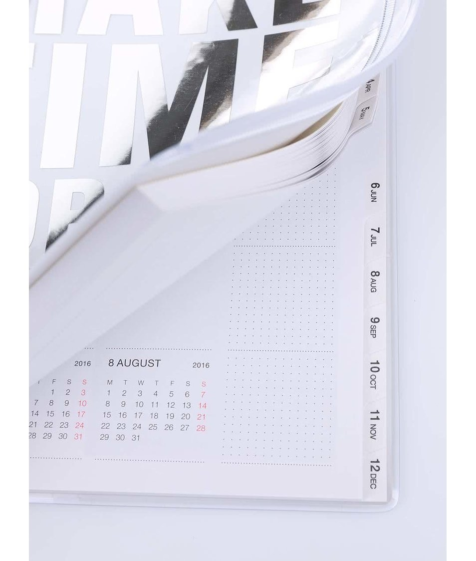 Bílý diář A5 2016 s nápisem ve stříbrné barvě Mark's Make Time