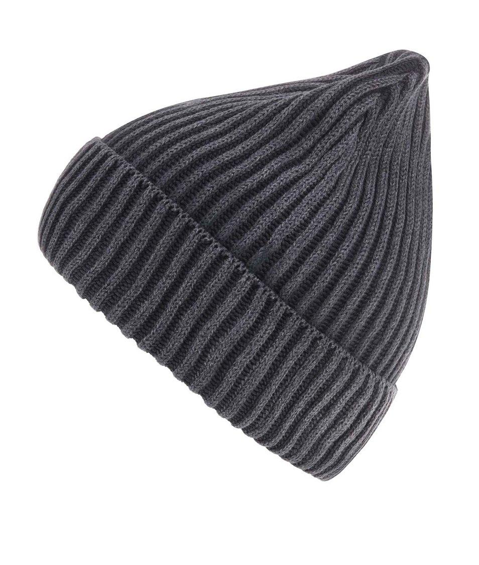 Tmavě šedá pletená čepice Selected Element