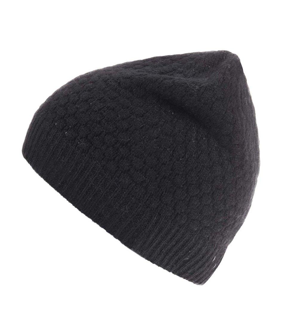 Černá pletená vlněná čepice Selected Hank