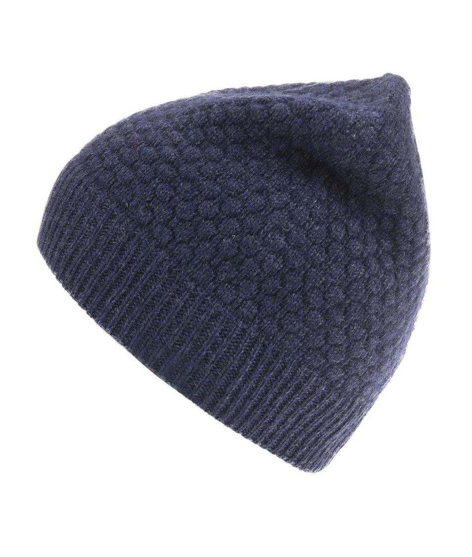 Tmavě modrá pletená vlněná čepice Selected Hank